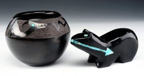 Jet Fetish And Juan Tofoya Pot - Both With Turquoise