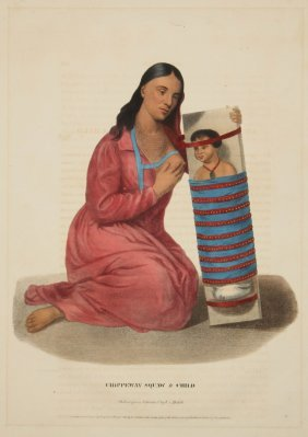 Mckenney & Hall Chippeway Squaw & Child Lithograph