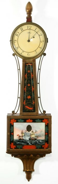 An Early 19th C. Banjo Clock With War Of 1812 Tablet