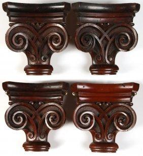 Four Victorian Carved Mahogany Corner Coramandrels