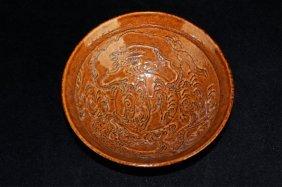 Chinese Qing Porcelain Brown Glaze Dragon Bowl