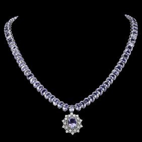 14k Gold 65.5ct Tanzanite 1ct Diamond Necklace