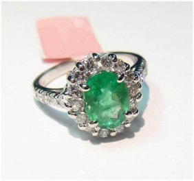14KT Gold, 1.75ct Emerald & 0.80ct Diamond Ring