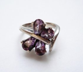925 Sterling Silver, Natural Amethyst Gemstone Ring