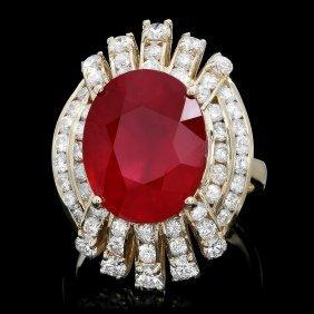 14k Yellow Gold 10.00ct Ruby 2.00ct Diamond Ring