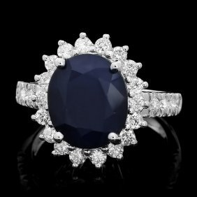 14k Gold 5ct Sapphire 1ct Diamond Ring