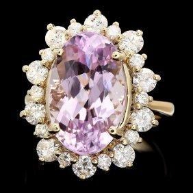14k Gold 10ct Kunzite 1.80ct Diamond Ring