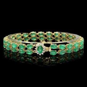 14k Gold 18ct Emerald 0.40ct Diamond Bracelet