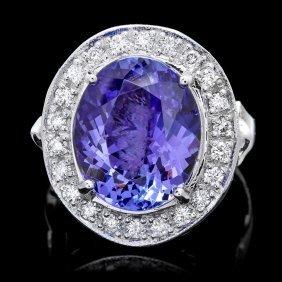 14k Gold 8ct Tanzanite 0.75ct Diamond Ring