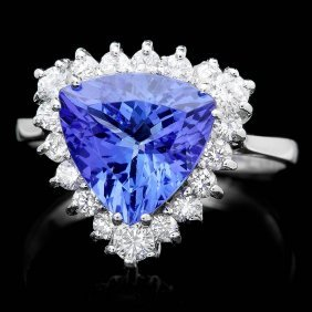 14k Gold 3ct Tanzanite 0.70ct Diamond Ring