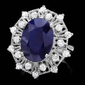14k Gold 9ct Sapphire 1.35ct Diamond Ring