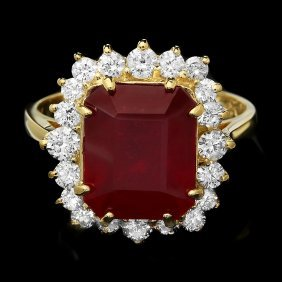 14k Yellow Gold 7.30ct Ruby 0.90ct Diamond Ring