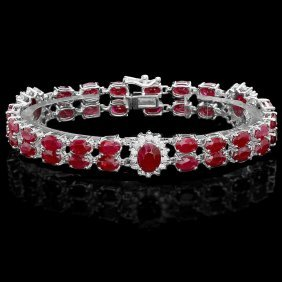 14k Gold 26.5ct Ruby 1.30ct Diamond Bracelet