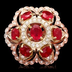 14k Gold 12ct Ruby 1.35ct Diamond Ring