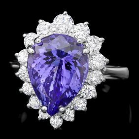 14k Gold 5.50ct Tanzanite 1ct Diamond Ring
