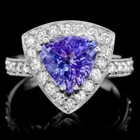 14k Gold 2.40ct Tanzanite 1ct Diamond Ring
