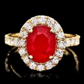 14k Yellow Gold 4.00ct Ruby 1.30ct Diamond Ring