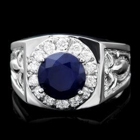 14k Gold 3ct Sapphire 0.60ct Diamond Mens Ring