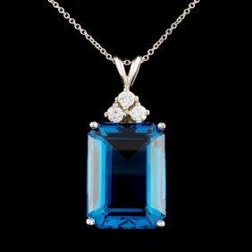 14k Gold 15ct Topaz & 0.24ctw Diamond Pendant