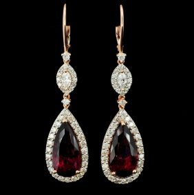 18k Gold 9.62ct Tourmaline & 1.91ct Diamond Earrin
