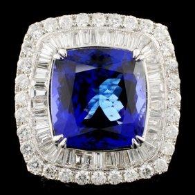 18k Gold 17.88ct Tanzanite & 4.24ctw Diamond Ring