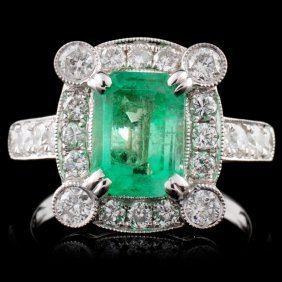 18k White Gold 1.53ct Emerald & 1.00ct Diamond Rin