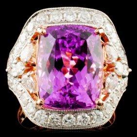 14k Gold 8.35ct Kunzite & 1.87ctw Diamond Ring