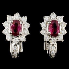 18k Gold 1.00ctw Ruby & 0.98ctw Diamond Earrings
