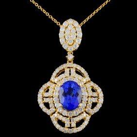 18k Gold 2.48ct Tanzanite & 1.82ctw Diamond Pendan