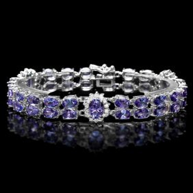 14k White Gold 23.45ct Tanzanite & 1.30ct Diamond