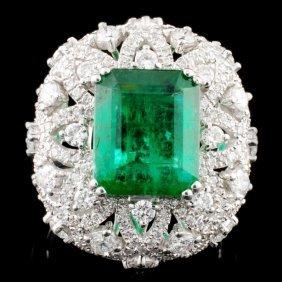 18k Gold 3.94ct Emerald & 1.61ctw Diamond Ring