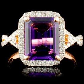 14k Gold 2.29ct Amethyst & 0.50ctw Diamond Ring