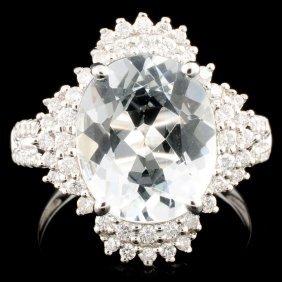 18k Gold 3.64ct Aquamarine & 0.52ctw Diamond Ring