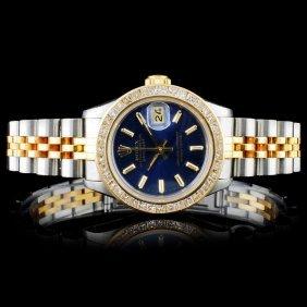 Rolex Yg/ss Datejust 2.00ct Diamond Ladies Wristwa