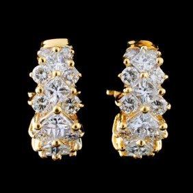 18k Yellow Gold 3.25ctw Diamond Earrings