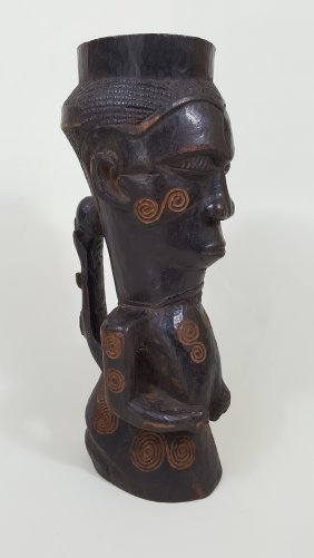 A Dengese Tribal Art Figural Wooden Goblet
