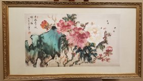 A Large Watercolor Painting Of Flowers And Bees