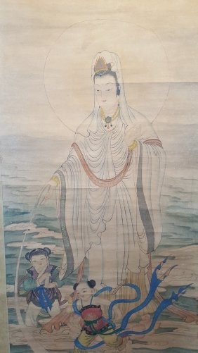 A Long Scroll Painting Of Guanyin