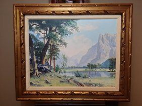 Original Oil On Canvas Painting Of Yosemite Valley-