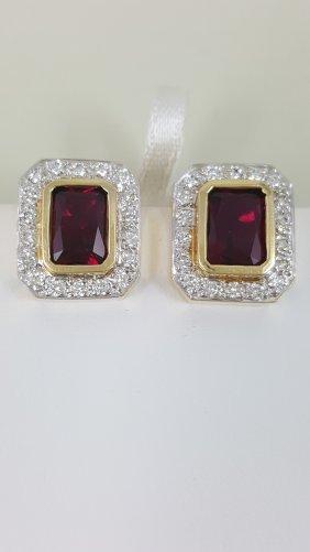 A Pair Of Rubellite Diamond Earrings On 14k Gold