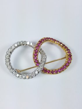 A Signed 18k Diamond And Rubies 'lovers Knot' Brooch