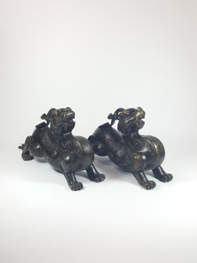 Two Chinese Dragon Bronze Statues