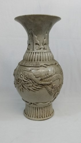 A Late Qing Chinese Porcelain Crackled Glazed Dragon
