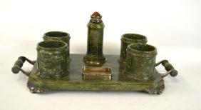 An American Silver & Spinach Jade Smoking Set