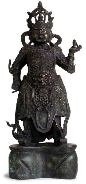 Ming. Large  Chinese Bronze Figure Of Guard God