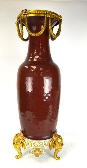 Tall Chinese Bronze Mounted Red Glazed  Vase