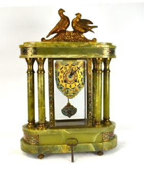 French Onyx & Champleve Enamel Metal Clock
