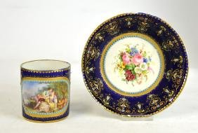 Jeweled Sevres Cup And Saucer W Love Scene