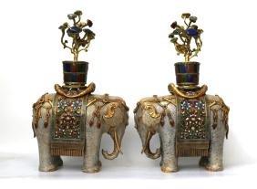 Pair 18th Century Chinese Cloisonne Elephants
