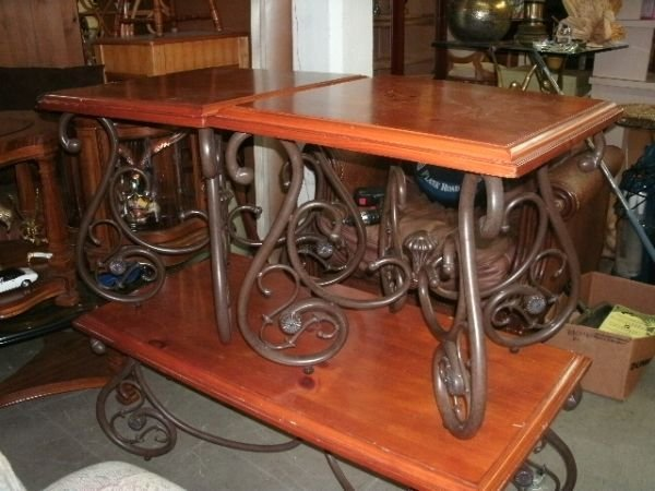 228 wrought iron and wood coffee table 2 end tables for Iron and wood side table